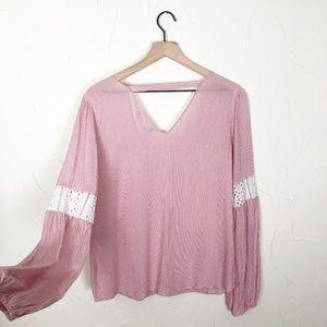 Pink Rose | Vintage Boho Chic Pink Stripe Blouse